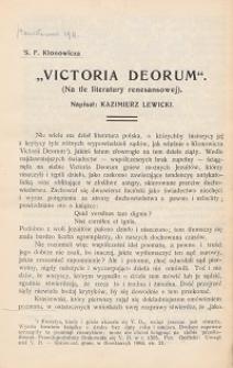 "S. F. Klonowicza ""Victoria deorum"" : (na tle literatury renesansowej)"