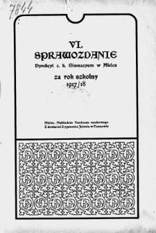 Sprawozdanie Dyrekcyi C. K. Gimnazyum w Mielcu za rok szkolny 1917/18