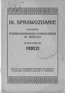 Sprawozdanie Dyrekcjii Gimnazjum Państwowego w Mielcu za rok szkolny 1920/21