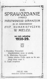 Sprawozdanie Dyrekcji Państwowego Gimnazjum im. St. Konarskiego (Typu humanistycznego) w Mielcu za rok szkolny 1927/28