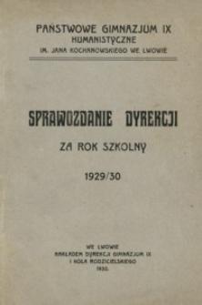 Sprawozdanie dyrekcji za rok szkolny 1929/30