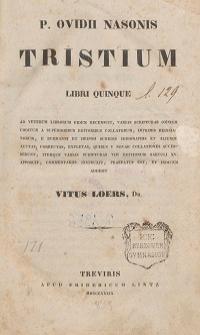 P. Ovidii Nasonis Tristium libri quinque