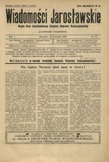 Wiadomości Jarosławskie : organ Koła Jarosławskiego Związku Naprawy Rzeczypospolitej. 1928, R. 1, nr 12 (kwiecień)