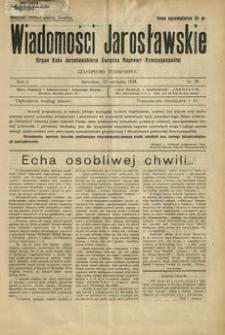 Wiadomości Jarosławskie : organ Koła Jarosławskiego Związku Naprawy Rzeczypospolitej. 1928, R. 1, nr 29 (sierpień)