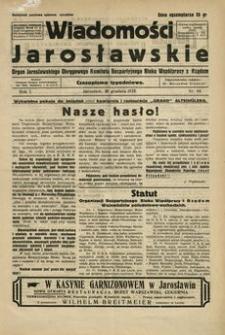 Wiadomości Jarosławskie : organ Jarosławskiego Okręgowego Komitetu Bezpartyjnego Bloku Współpracy z Rządem. 1928, R. 1, nr 44 (grudzień)