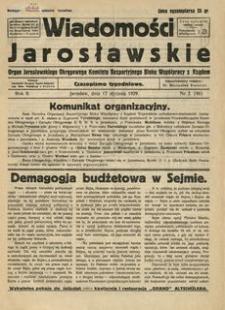Wiadomości Jarosławskie : organ Jarosławskiego Okręgowego Komitetu Bezpartyjnego Bloku Współpracy z Rządem. 1929, R. 2, nr 2 (styczeń)
