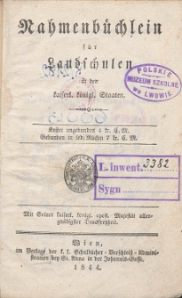 Nahmenbüchlein für Landschulen in den kaiserl. königl. Staaten.