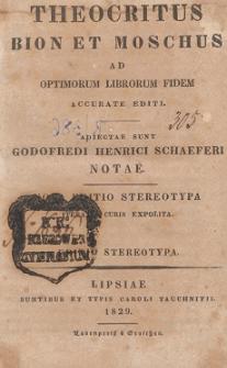 Theocritus, Bion et Moschus : ad optimorum librorum fidem accurate editi