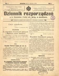 Dziennik rozporządzeń c. k. Starostwa i Rady szk[olnej] okręg[owej] w Jarosławiu. 1900, R. 1, nr 1 (styczeń)