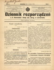 Dziennik rozporządzeń c. k. Starostwa i Rady szk[olnej] okręg[owej] w Jarosławiu. 1900, R. 1, nr 5 (marzec)