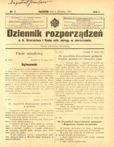 Dziennik rozporządzeń c. k. Starostwa i Rady szk[olnej] okręg[owej] w Jarosławiu. 1900, R. 1, nr 7 (kwiecień)