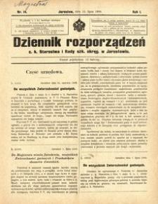 Dziennik rozporządzeń c. k. Starostwa i Rady szk[olnej] okręg[owej] w Jarosławiu. 1900, R. 1, nr 14 (lipiec)