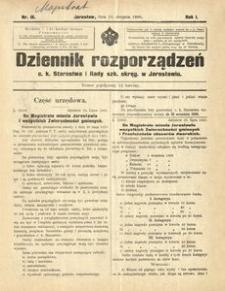 Dziennik rozporządzeń c. k. Starostwa i Rady szk[olnej] okręg[owej] w Jarosławiu. 1900, R. 1, nr 16 (sierpień)