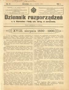 Dziennik rozporządzeń c. k. Starostwa i Rady szk[olnej] okręg[owej] w Jarosławiu. 1900, R. 1, nr 17 (wrzesień)
