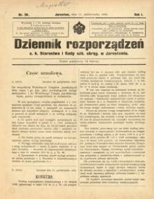 Dziennik rozporządzeń c. k. Starostwa i Rady szk[olnej] okręg[owej] w Jarosławiu. 1900, R. 1, nr 20 (październik)