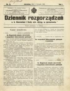 Dziennik rozporządzeń c. k. Starostwa i Rady szk[olnej] okręg[owej] w Jarosławiu. 1900, R. 1, nr 21 (listopad)