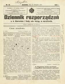 Dziennik rozporządzeń c. k. Starostwa i Rady szk[olnej] okręg[owej] w Jarosławiu. 1900, R. 1, nr 22 (listopad)