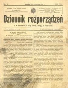 Dziennik rozporządzeń c. k. Starostwa i Rady szkoln[ej] okręg[owej] w Jarosławiu. 1906, R. 7, nr 1 (styczeń)