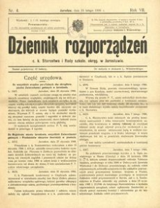 Dziennik rozporządzeń c. k. Starostwa i Rady szkoln[ej] okręg[owej] w Jarosławiu. 1906, R. 7, nr 4 (luty)