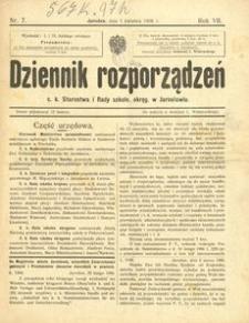 Dziennik rozporządzeń c. k. Starostwa i Rady szkoln[ej] okręg[owej] w Jarosławiu. 1906, R. 7, nr 7 (kwiecień)