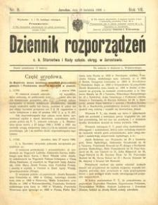 Dziennik rozporządzeń c. k. Starostwa i Rady szkoln[ej] okręg[owej] w Jarosławiu. 1906, R. 7, nr 8 (kwiecień)
