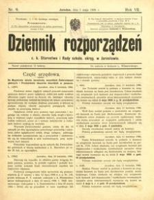 Dziennik rozporządzeń c. k. Starostwa i Rady szkoln[ej] okręg[owej] w Jarosławiu. 1906, R. 7, nr 9 (maj)
