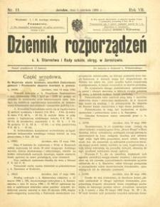 Dziennik rozporządzeń c. k. Starostwa i Rady szkoln[ej] okręg[owej] w Jarosławiu. 1906, R. 7, nr 11 (czerwiec)