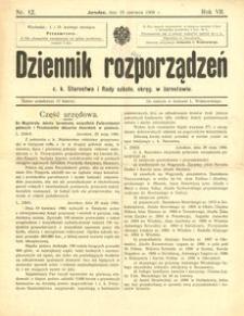 Dziennik rozporządzeń c. k. Starostwa i Rady szkoln[ej] okręg[owej] w Jarosławiu. 1906, R. 7, nr 12 (czerwiec)
