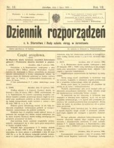 Dziennik rozporządzeń c. k. Starostwa i Rady szkoln[ej] okręg[owej] w Jarosławiu. 1906, R. 7, nr 13 (lipiec)