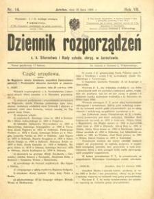 Dziennik rozporządzeń c. k. Starostwa i Rady szkoln[ej] okręg[owej] w Jarosławiu. 1906, R. 7, nr 14 (lipiec)