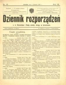 Dziennik rozporządzeń c. k. Starostwa i Rady szkoln[ej] okręg[owej] w Jarosławiu. 1906, R. 7, nr 15 (sierpień)