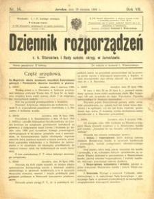 Dziennik rozporządzeń c. k. Starostwa i Rady szkoln[ej] okręg[owej] w Jarosławiu. 1906, R. 7, nr 16 (sierpień)