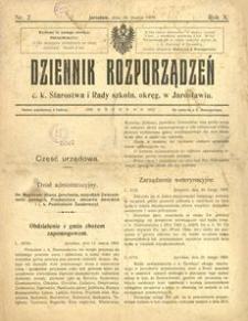 Dziennik rozporządzeń c. k. Starostwa i Rady szkoln[ej] okręg[owej] w Jarosławiu. 1909, R. 10, nr 2 (marzec)