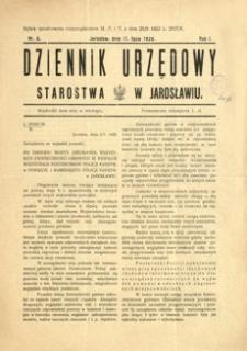 Dziennik Urzędowy Starostwa w Jarosławiu. 1926, R. 1, nr 6 (lipiec)