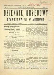 Dziennik Urzędowy Starostwa w Jarosławiu. 1927, R. 2, nr 2 (styczeń)