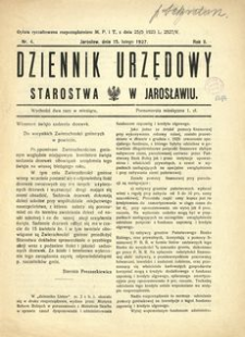 Dziennik Urzędowy Starostwa w Jarosławiu. 1927, R. 2, nr 4 (luty)