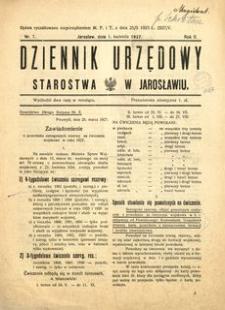 Dziennik Urzędowy Starostwa w Jarosławiu. 1927, R. 2, nr 7 (kwiecień)