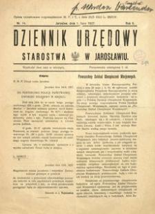 Dziennik Urzędowy Starostwa w Jarosławiu. 1927, R. 2, nr 14 (lipiec)