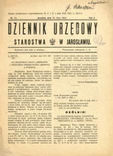 Dziennik Urzędowy Starostwa w Jarosławiu. 1927, R. 2, nr 15 (lipiec)