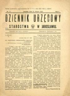 Dziennik Urzędowy Starostwa w Jarosławiu. 1927, R. 2, nr 17 (sierpień)