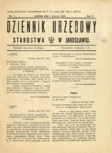 Dziennik Urzędowy Starostwa w Jarosławiu. 1928, R. 3, nr 1 (styczeń)