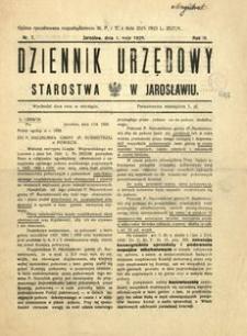 Dziennik Urzędowy Starostwa w Jarosławiu. 1928, R. 3, nr 7 (maj)