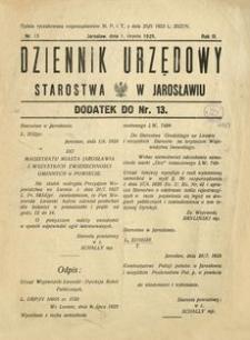 Dziennik Urzędowy Starostwa w Jarosławiu : dodatek do nr 13. 1928, R. 3, nr 13 (sierpień)