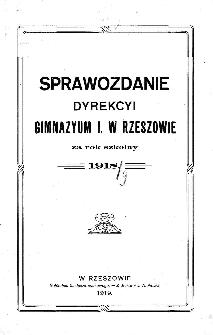 Sprawozdanie Dyrekcyi C. K. Gimnazyum I w Rzeszowie za rok szkolny 1919