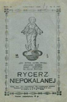 Rycerz Niepokalanej. 1927, R. 6, nr 6 (czerwiec)