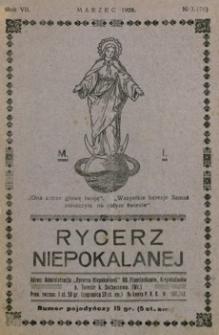 Rycerz Niepokalanej. 1928, R. 7, nr 3 (marzec)