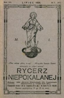 Rycerz Niepokalanej. 1929, R. 8, nr 7 (lipiec)