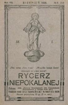 Rycerz Niepokalanej. 1929, R. 8, nr 8 (sierpień)