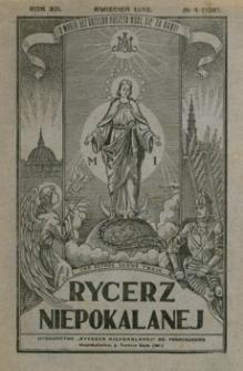 Rycerz Niepokalanej. 1933, R. 12, nr 4 (kwiecień)