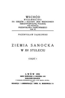 Ziemia sanocka w XV stuleciu. Cz. 1